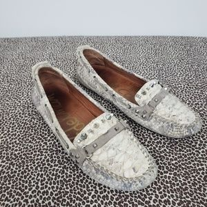 Sam Edleman Snake Print Leather Loafers Size 8